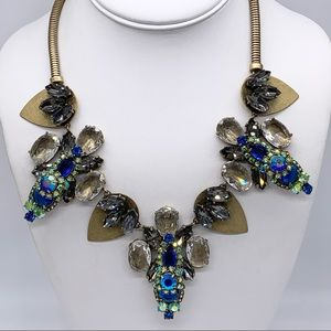 J. Crew Blue Green Gray AB Crystal Necklace
